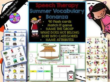 Speech Therapy Summer Bonanza Bundle Vocabulary Categories