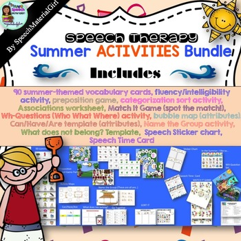 MAY17SLPMUSTHAVE Speech Therapy Summer Bundle Prepositions