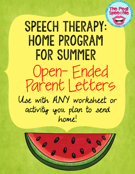 Speech Therapy Summer Home Program Parent Letters