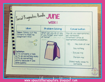 Speech Therapy Summer Homework 2 Bundle: Language, Artic, Social Pragmatics