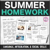 Speech Therapy Summer Homework Bundle: Articulation, Language, & Social Skills