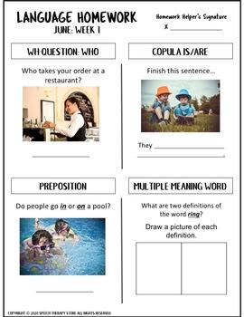 Speech Therapy Summer Homework Bundle: Articulation, Language, & Social Skills