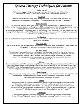 Speech Therapy Techniques to Encourage Communication -Handout