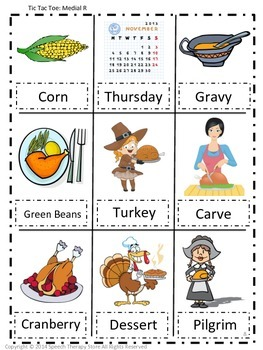 Speech Therapy Thanksgiving Articulation R Games