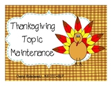 Speech Therapy Thanksgiving Topic Maintenance