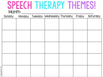 Speech Therapy Theme Caleandar