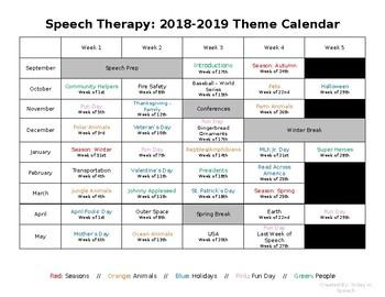 Speech Therapy Theme Calendar (2018-19)