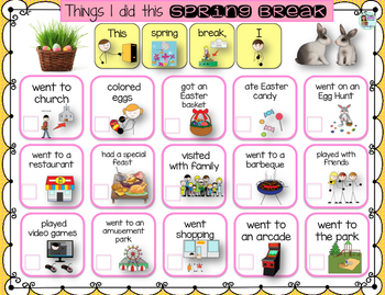 Speech Therapy Things I did this Spring Break Communication Board FREEBIE autism