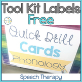 Speech Therapy Tool Kit Labels for Language & Phonology:  FREE