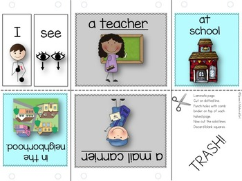 Speech Therapy Community Helpers Flipbook booklet I see categories Autism