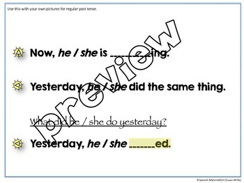 Speech Therapy Very Structured REGULAR PAST TENSE Activity