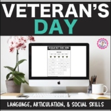 Veteran's Day Interactive PDF: Lang, Artic, & Social Skills Distance Learning
