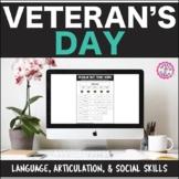 Veteran's Day Interactive PDF: Lang, Artic, & Social Skill