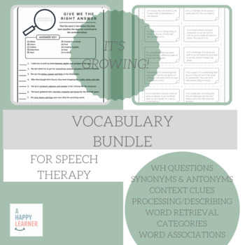 Speech Therapy Vocabulary Bundle