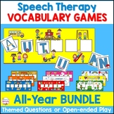 Speech Therapy Vocabulary Games All-Year Bundle