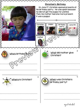 Speech Therapy WH-QUESTIONS Who What Where When PICTURE CUES