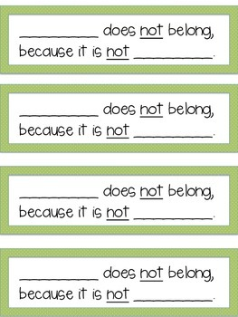 Speech Therapy WHAT DOES NOT BELONG activity categories 33 flash cards