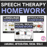 Speech Therapy Weekly Homework Bundle: Language, Articulation, & Social Skills