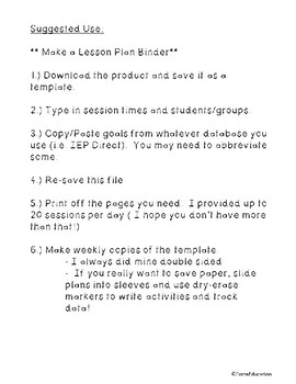 Therapy Lesson Plan Template For Weekly Lessons Fillable - Fillable lesson plan template