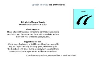 Speech Therapy Weekly Notes