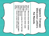 Speech Therapy Welcome Letters for Parents