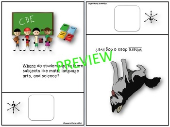 Speech Therapy Wh-Questions WHERE Interactive Booklet Autism Visual Learners