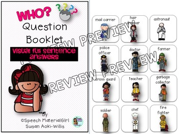 Speech Therapy Wh-Questions WHO Interactive Booklet Autism FULL SENTENCE