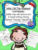 Speech Therapy THIS WEEKEND VISUAL BUBBLE MAP & WRITING WORKSHEET Autism social