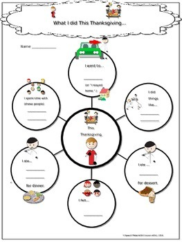 Speech Therapy What I did this Thanksgiving bubble map sentence building