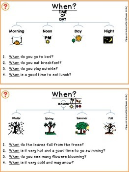 Speech Therapy When Questions Booklet EASY & graphic organizer questions autism