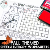 Speech Therapy Worksheets: No Prep Fall Autumn Themed Arti