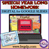 Speech Therapy YEAR LONG HOMEWORK For Google Drive AND PDF