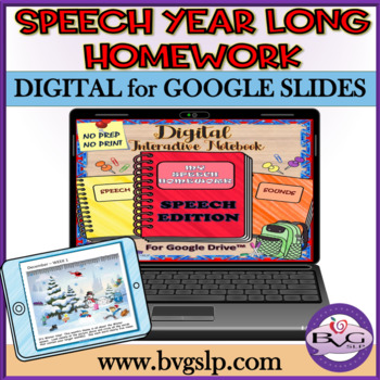 Speech Therapy YEAR LONG HOMEWORK Google Drive AND PDF - Teletherapy