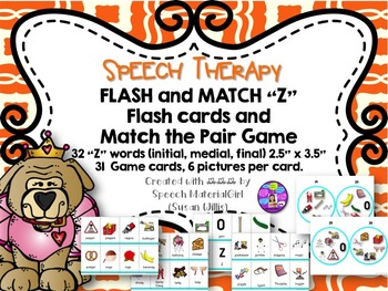 Speech Therapy /Z/ Articulation Flash Cards & Matching Gam