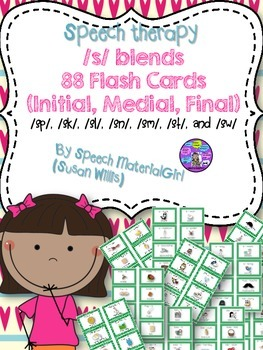 Speech Therapy articulation /s/ blends initial, medial, final Flash Cards