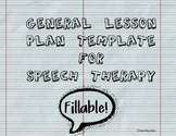 Speech Therapy general lesson plan template