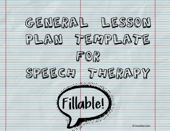 Speech Therapy General Lesson Plan Template By Forza Education TpT - Fillable lesson plan template