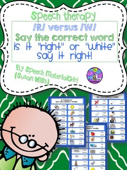 Speech Therapy. /r/ vs /w/ articulation pre-vocalic  r contrastive minimal pairs