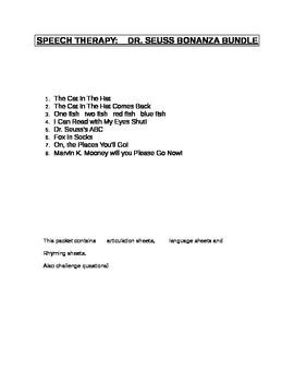 Speech Thereapy:  Dr. Seuss Bonanza Bundle!