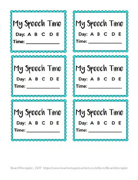 Speech Time Reminder Cards
