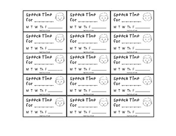 Speech Therapy Time Reminders for Student Desks