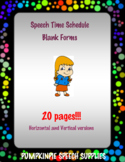 Speech Time Schedule Blank Forms