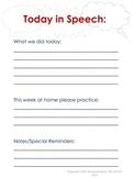 Speech Treatment Parent Sheet