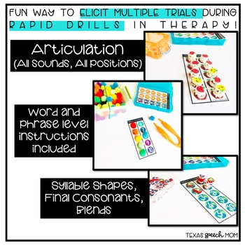 Speech Trial Mats- Articulation Word and Phrase Level Drills