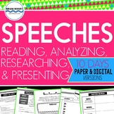 Speech Unit - Reading, Analyzing, Researching, Presenting - Common Core Aligned!