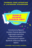 English Language Arts - Speaking & Listening for Middle School - Speech Unit