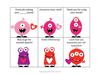 Speech Valentines: Compliment Cards for Speech and Language!