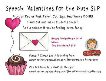 Speech Valentines for the Busy SLP