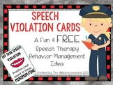 Speech Violation Cards: A Fun & FREE  Speech Therapy Behavior Management Idea