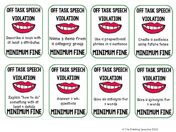 Speech Violation Cards: A Fun & FREE  Speech Therapy Behavior Management Idea